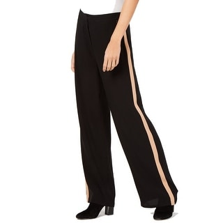 Eileen Fisher Women's Black Size 8 Striped Georgette Crepe Pants Silk