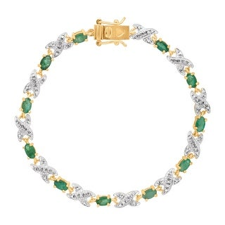 2 3/8 ct Natural Emerald XO Bracelet with Diamond in 10K Gold-Plated Sterling Silver - Green