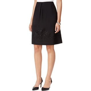 Kasper Womens A-Line Skirt Crepe Embroidered Hem - 6