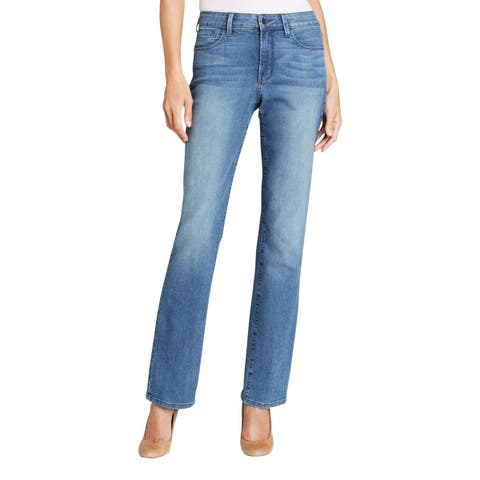 NYDJ Womens Straight Leg Jeans Denim Medium Wash