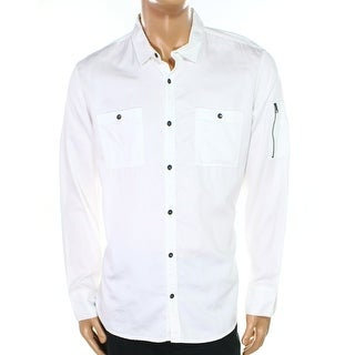 INC NEW Optic White Men's XL Zip-Detail Button Down Pocket Shirt