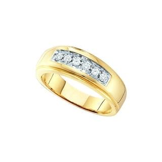 14kt Yellow Gold Mens Round Natural Diamond Band Wedding Anniversary Ring 1/4 Cttw - White