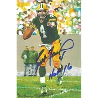 Brett Favre Autographed Green Bay Packers Goal Line Art Card Blue HOF