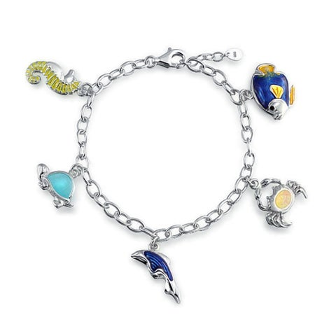 Nautical Vacation Theme Dolphin Crab Turtle Seahorse Created Opal Charm Link Bracelet For Women 925 Sterling Silver