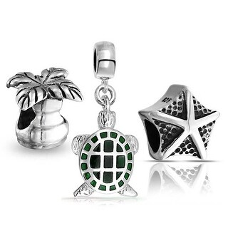 Bling Jewelry Sterling Silver Turtle Starfish Palm Tree Bead Charm Set