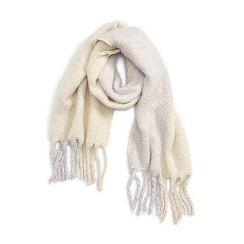 LEITH Scarf Pale Yellow Gray wide stripe Woven Fringed Colorblock