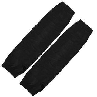 Unique Bargains Womens Stretchy Fingerless Arm Warmers Elbow Long Gloves Black Pair