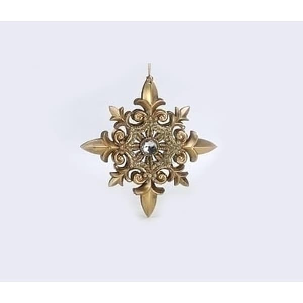"5"" Holiday Elegance Gold Fleur-de-Lis Glittered Snowflake Christmas Ornament"