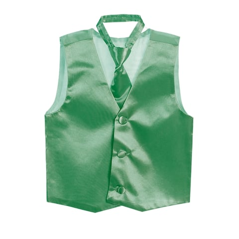 Boys Emerald Green Three Button Satin Vest Tie 2 Pc Set