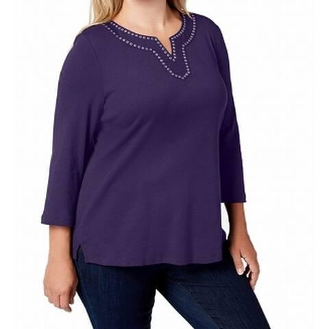 Karen Scott Womens Blouse Purple Size 4X Plus Grommet-Trim V-Neck