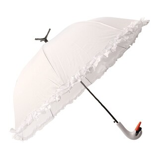 "Esschert Design USA Swan Handle Umbrella - Self Standing Design 38"" Span - White"