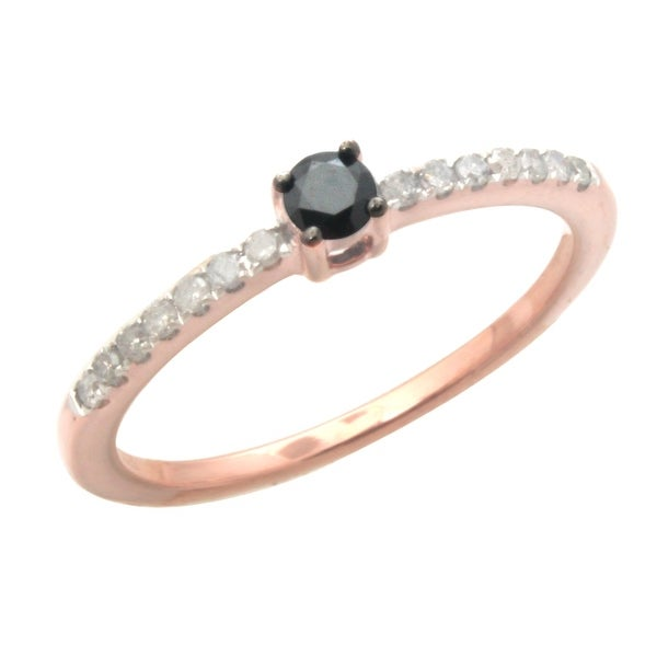 Brand New 0.22ct Round Brilliant Cut Genuine Real Black Diamond With Diamond Solitaire Accent Ring
