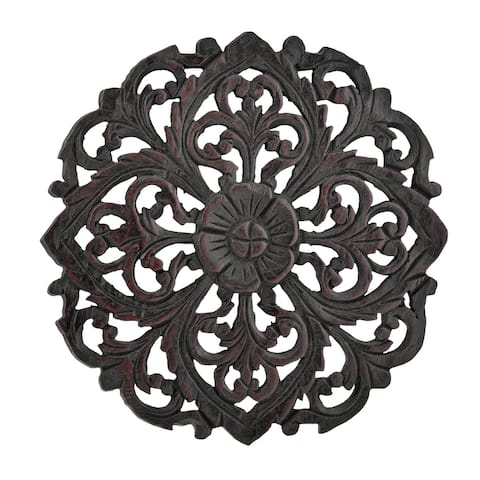 Tropical Grand Flower Bouquet Hand Carved Teak Wood 12 Inches Wall Art (Thailand)