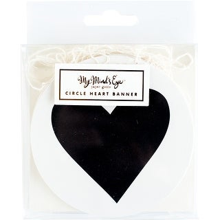 22 Circle Hearts - Black & White Mini Banner 8'