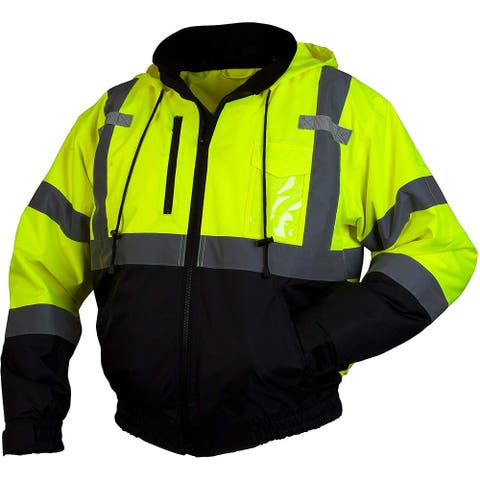 Pyramex Mens Coat Yellow Black Size Large L Bomber Safety Reflective
