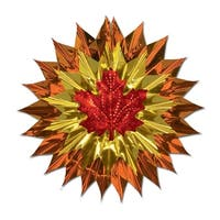 Club Pack of 12 Copper, Gold and Red Fall Leaf Metallic Fan-Burst 15""
