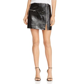 Blank NYC Womens Mini Skirt Metallic Patent Leather