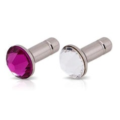 White Diamonds Crystal Pins for 3.5mm Devices (Pink and Clear)