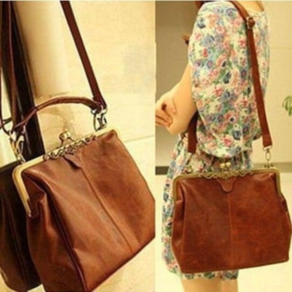 02faac6a2c Women Messenger Bags Bolsas Femininas Desigual Shoulder Crossbody Bag PU  Leather Retro Clip Lock Black White