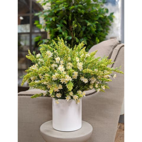 "White Wildflowers Arrangement in a White Cylinder Container 32""L x 21""H - 32 x 32 x 21"