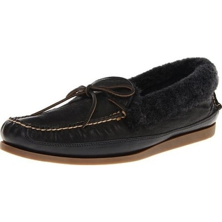 Frye Mens Homer Leather Sheep Fur Lined Moccasin Slippers