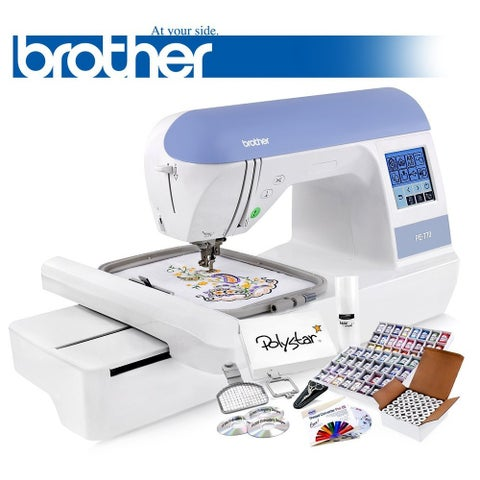 Brother PE770 (PE 770) Embroidery Machine and Grand Slam Package Includes 64 Embroidery Threads + Prewound Bobbins + More