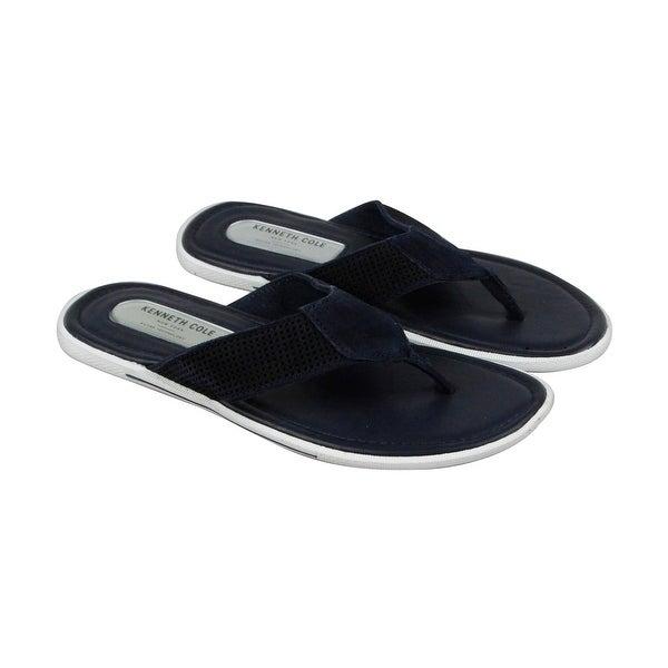 8c6896bf81dd Kenneth Cole Final Word Mens Blue Suede Flip Flops Slip On Sandals Shoes