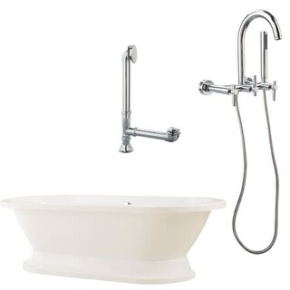 """Giagni LC1 Capri 67"""" White Tub with Plinth, Drain and Wallmount Faucet with Handshower"""