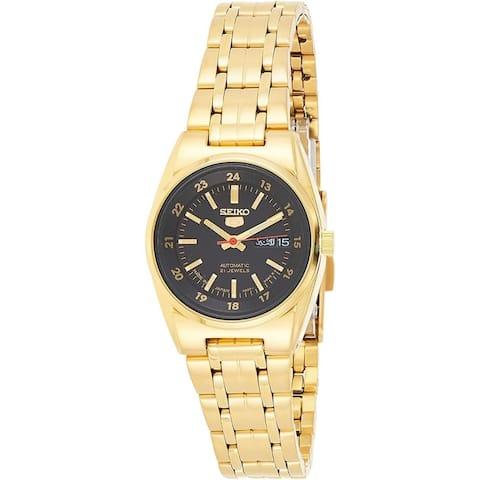 Seiko Women's SYMC06J1 'Seiko 5' Gold-Tone Stainless Steel Watch - Black
