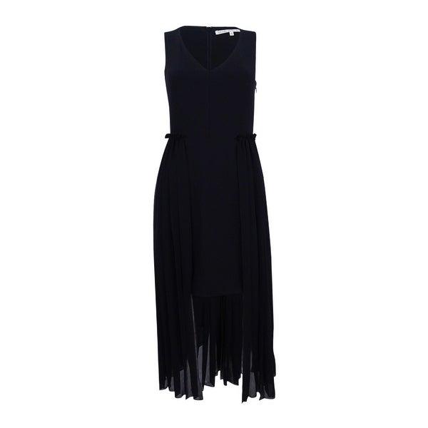 Rachel Roy Women's Pleated-Overlay High-Low Dress - Black