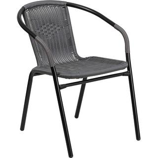 Skovde Gray Rattan Indoor/Outdoor/Patio/Bar Restaurant Stack Chair