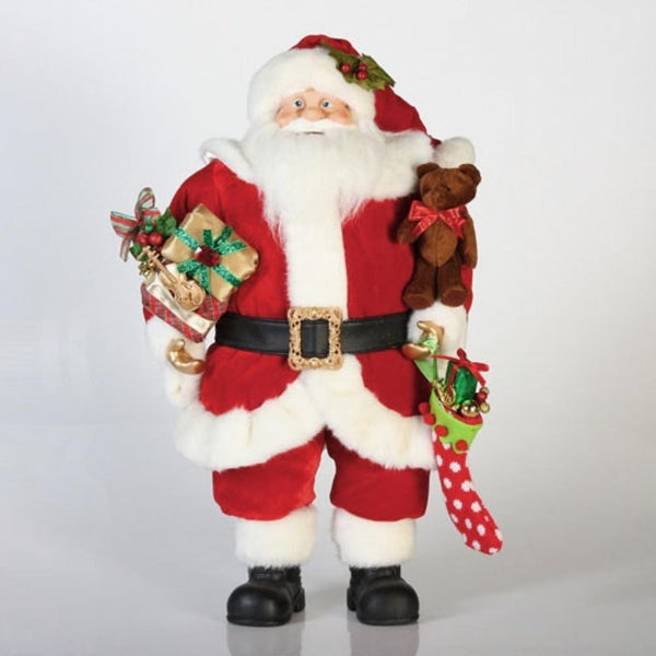 "24.75"" Traditional Standing Santa Claus with Gifts & Teddy Bear Christmas Figure - RED"