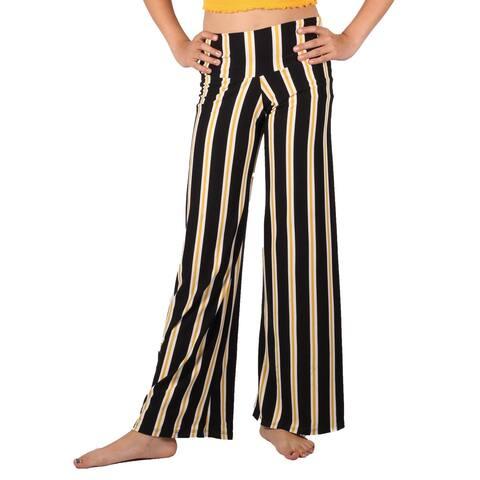 Lori & Jane Girls Black Yellow Stripe Pattern Palazzo Wide Pants