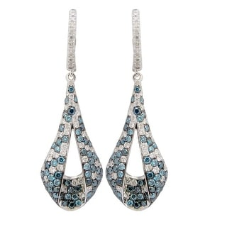 Prism Jewel 2.00 Carat Ice-Blue/Blue Color Diamond with Natural Diamond Unique Clip-on Drop Earring, 14k White Gold