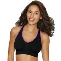 Hanes Cozy Racerback Pullover ComfortFlex Fit® Wirefree Bra - Size - 3X - Color - Black w/Sugar Pink