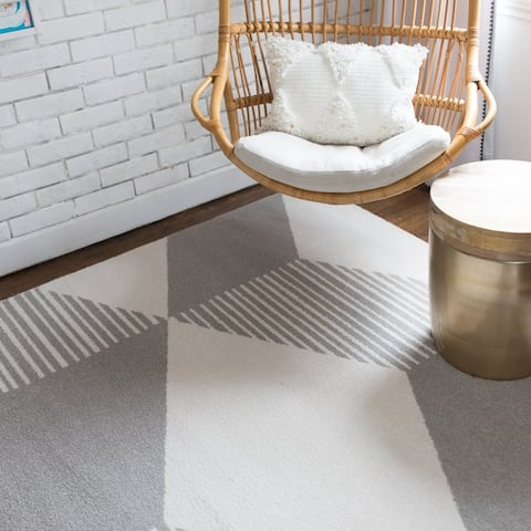 Carson Carrington Iskallebol Blu/Gold Modern Geometric Indoor Area Rug