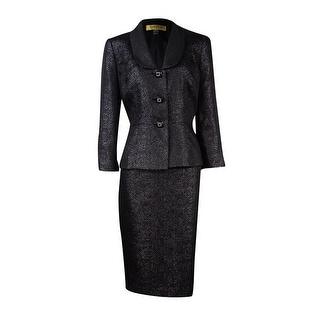 Kasper Women's Shimmer Textured Metallic Skirt Suit - 4