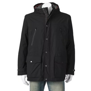 London Fog Men's Anorak Jacket with Hood Black Size Small