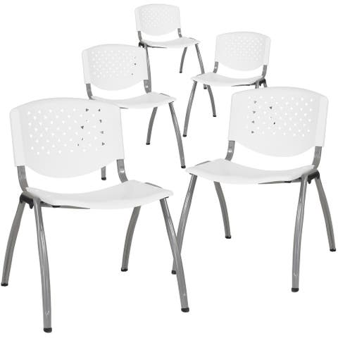 Powder-coated Metal/ Plastic Stackable Chair (Set of 5)