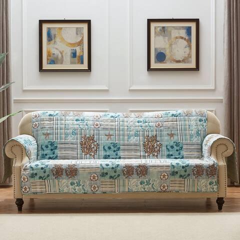 Reversible Sea Life Print Sofa Protector with Elastic Strap, Blue