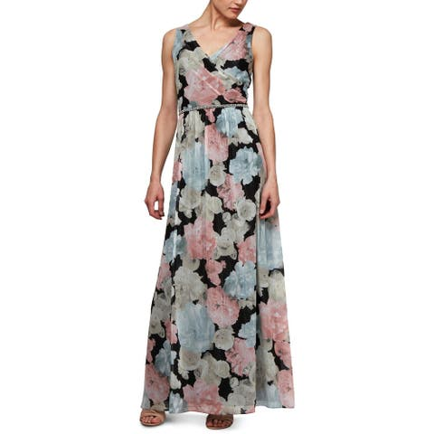 SLNY Womens Evening Dress Surplice Floral