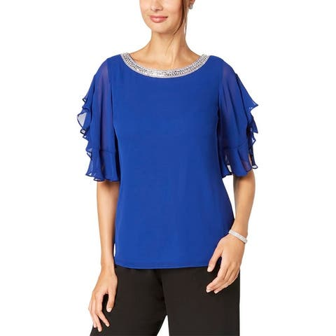 MSK Womens Petites Pullover Top Chiffon Flutter Sleeves