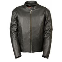 Mens Classic Leather Scooter Jacket with Side Zippers