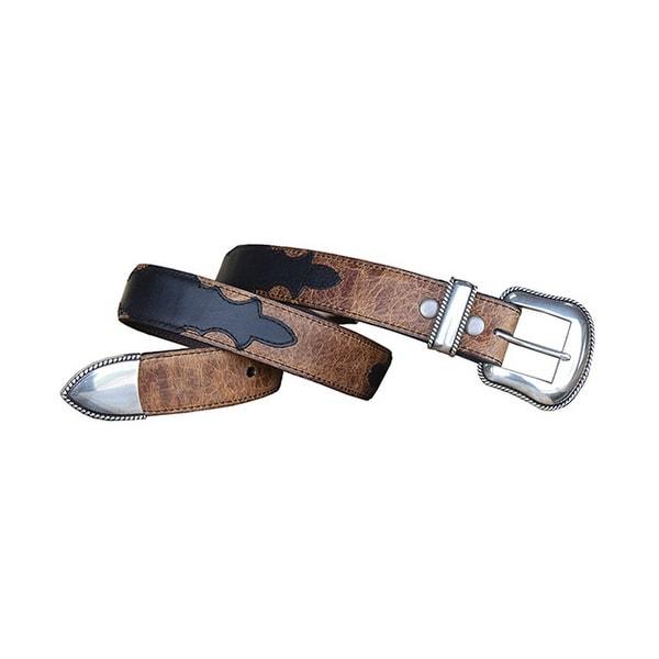 Vintage Bison Western Belt Men Stillwater Leather Cognac Brown