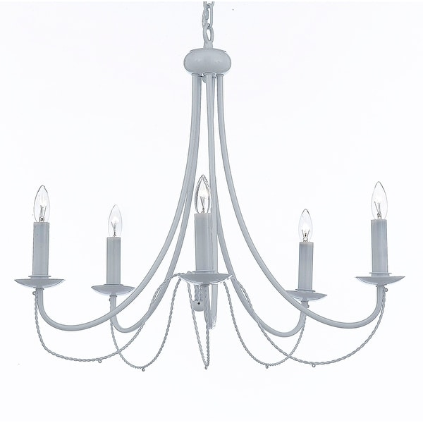 White Wrought Iron Chandelier Chandeliers Lighting 5 Light
