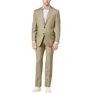 Calvin Klein CK 2 piece Slim Fit Tan Sharkskin Wool Suit 38 Regular 38R Pants 32