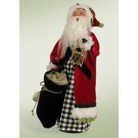 "13.5"" Checkered Modern Jolly Santa with Lantern Christmas Figure"