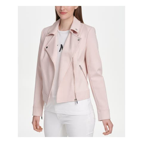 DKNY Womens Pink Motorcycle Jacket Size L