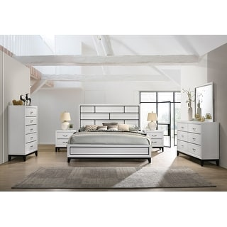 Link to Stout Contemporary Panel Bedroom Set in White Finish with Panel Bed, Dresser, Mirror, 2 Night Stands, Chest Similar Items in Bedroom Furniture