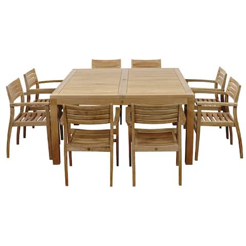 Victoria 9-Piece Outdoor Dining Set Teak Square Table Patio Furniture